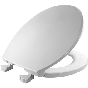 Mayfair Easy Clean and Change White Plastic Round Toilet Seat