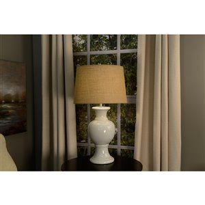 allen + roth 10-in x 15-in Tan Burlap Fabric Drum Lamp Shade