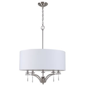 Style Selections 23-in W Brushed Nickel Hardwired Standard Pendant Light with Fabric Shade