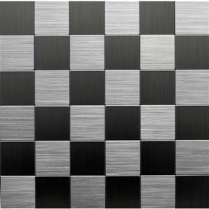 Instant Mosaic 12-in x 12-in Brushed Stainless Peel & Stick Wall Tile