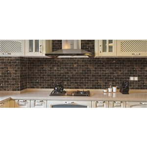 Faber 12-in x 14-in Emperador Dark Polished Marble Mosaic Subway Wall Tile