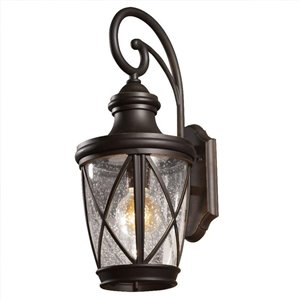 allen + roth Castine 20.38-in H Oil-Rubbed Bronze Outdoor Wall Light