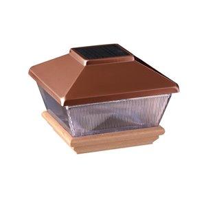 Deckorators 4-in x 4-in Copper Solar LED Plastic Pine Deck Post Cap
