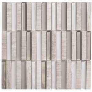 Faber 12-in x 12-in Opus Escarpment Glass & Marble Mosaic Wall Tile