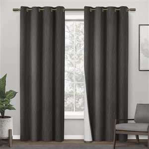 Design Decor Crete 84-in Charcoal Thermal Single Curtain Panel