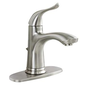 AquaSource Brushed Nickel 1-Handle Single Hole Bathroom Sink Faucet with Drain (Valve Included)
