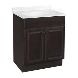 Project Source Richmond 24-in Single Sink Java Bathroom Vanity With Cultured Marble Top