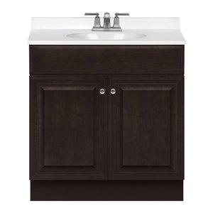 Project Source Richmond 30-in Single Sink Java Bathroom Vanity With Cultured Marble Top