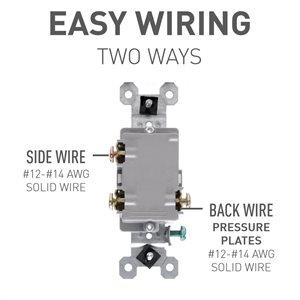 Legrand 15-Amp Single Pole 3-Way White Framed Toggle Light Switch
