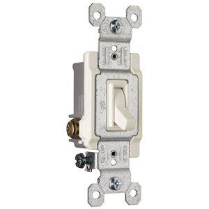 Legrand 15-Amp Single Pole 3-Way Light Almond Framed Toggle Light Switch