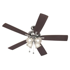 Harbor Breeze 52-in Brushed Nickel Incandescent Indoor Residential Ceiling Fan with Light Kit Included (5-Blade)
