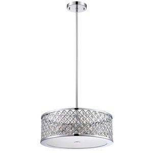 Eurofase 9-5/8-in Chrome Convertible Pendant/Semi Flush Light with Crystal Shade