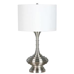 DSI Brushed Nickel Table Lamp with Rings and White Shade