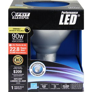 Feit Electric 14-Watt (90 W Equivalent) 5000 Kelvins Par38 Medium Base (E-26) Daylight Dimmable Indoor/Outdoor Led Flood Light Bulb