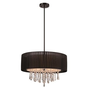 Style Selections Penchant 22.84-in W Black Standard Pendant Light with Fabric Shade