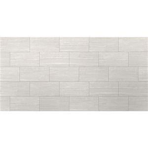 Style Selections 12-in x 24-in Leonia Silver Glazed Porcelain Floor Tile