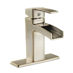 Pfister Kamato Brushed Nickel 1-Handle Single Hole 4-in Centerset WaterSense Bathroom Sink Faucet with Drain (Valve Included)