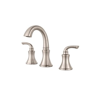 Pfister Solita Brushed Nickel 2-Handle Widespread WaterSense Bathroom Sink Faucet with Drain (Valve Included)