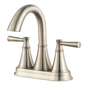 Pfister Cantara Brushed Nickel 2-Handle 4-in Centerset WaterSense Bathroom Sink Faucet with Drain