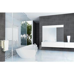 Faber 12-in x 24-in Grey Polished Porcelain Floor Tile