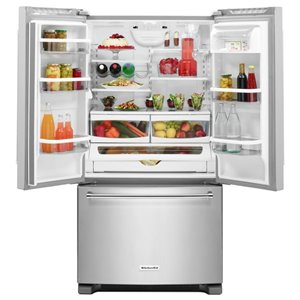 KitchenAid 25.2-cu ft 3-Door Standard-Depth French Door Refrigerators Single Ice Maker (Stainless Steel) ENERGY STAR