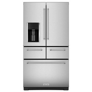 KitchenAid 36-in 25.8-cu ft 5-Door Standard-Depth French Door Refrigerator with Single Ice Maker (Stainless Steel)