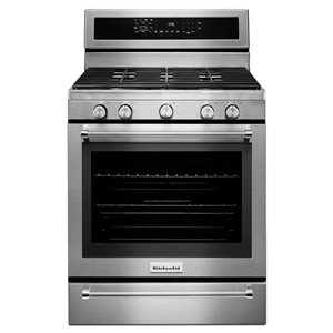 KitchenAid 5 Burners 5.8-cu ft Self-Cleaning Convection Gas Range (Stainless Steel) (Common: 30-in; Actual: 29.875-in)