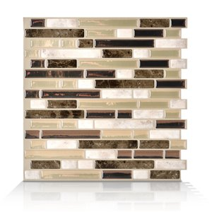 Smart Tiles 10-in x 10-in Bellagio Bello Peel-and-Stick Vinyl Mosaic Subway Wall Tile (6-Pack)