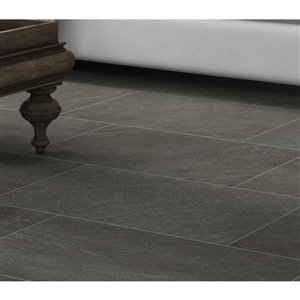 Style Selections Galvano Charcoal Porcelain Granite Floor and Wall Tile (Common: 12-in x 24-in; Actual: 11.85-in x 23.85-in)