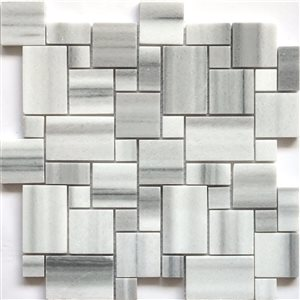 Faber 13-in Equator Marble Pattern Mosaic Natural Stone Wall Tile
