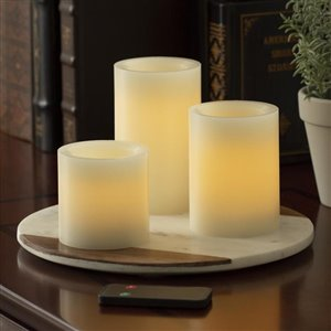 3-Pack Flameless Round Cream Wax Pillar Candles with Remote