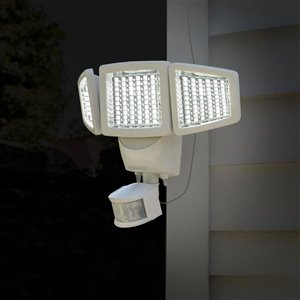 Sunforce 180-Degree 3-Head Off-White Solar Powered LED Motion-Activated Flood Light with Timer
