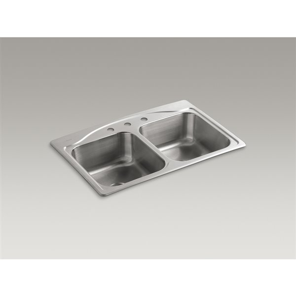 Prime Kohler 22 In X 33 In Cadence Stainless Steel 2 Stainless Steel Drop In 3 Hole Residential Kitchen Sink Complete Home Design Collection Lindsey Bellcom
