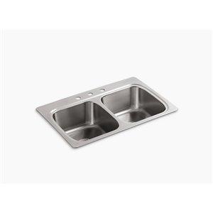 KOHLER 33-in x 22-in Verse Stainless Steel 2-Basin Stainless Steel Drop-in 3-Hole Residential Kitchen Sink