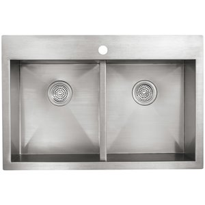 KOHLER 33-in x 22-in Vault Stainless Steel 2-Basin Stainless Steel Drop-in or Undermount 1-Hole Residential Kitchen Sink