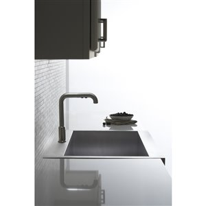 KOHLER 35.75-in x 24.3125-in Vault Stainless Steel 1-Basin Stainless Steel Apron Front/Farmhouse 1-Hole Residential Kitchen Sink