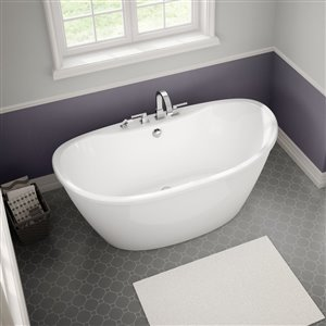 MAAX 32-in x 60-in Delsia White Gelcoat/Fiberglass Oval Freestanding Bathtub with Back Center Drain
