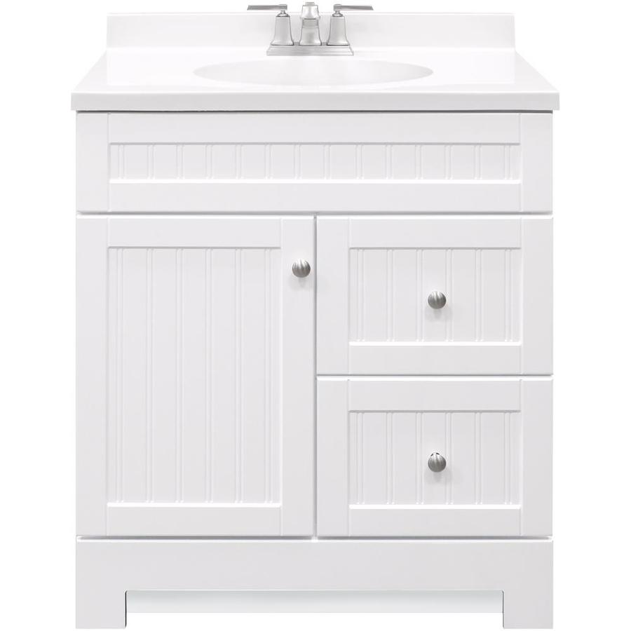 Style Selections Ellenbee 30 In White Bathroom Vanity Combo With Cultured Marble Top And Integral Sink Sink Lowe S Canada