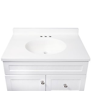 Style Selections Ellenbee 30-in Single Sink White Bathroom Vanity With Cultured Marble Top