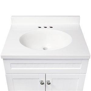 Style Selections Ellenbee 24-in Single Sink White Bathroom Vanity With Cultured Marble Top