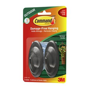 3M 2-Pack Command Slate Terrace Hooks with All Weather Strips