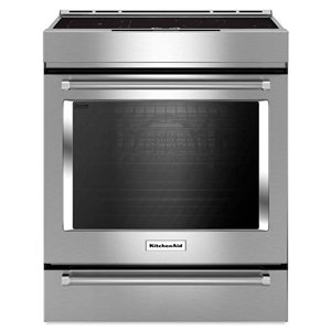 KitchenAid 30-in 7.1-cu ft Slide In Induction Range with Self-Cleaning Convection Oven (Stainless Steel)