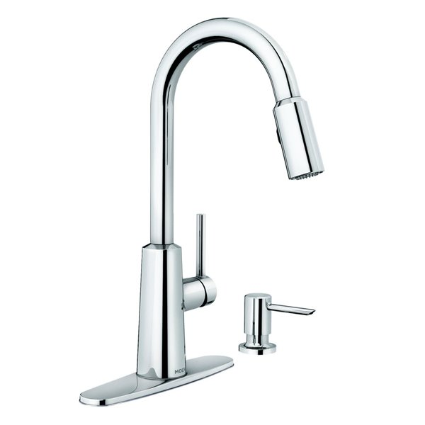 Moen Nori Chrome One Handle Pull Down Kitchen Faucet With Soap Dispenser Lowe S Canada