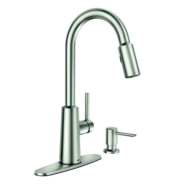 Moen Nori Stainless Steel One Handle Pull Down Spot Resist Kitchen Faucet With Soap Dispenser