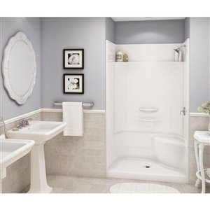 MAAX Adesso White 34-in x 48-in 4-Piece Alcove Shower Kit With Right Hand Seat