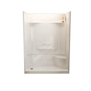 MAAX Adesso White 30-in x 60-in 4-Piece Alcove Shower Kit With Right Hand Seat