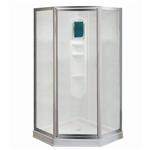 MAAX 77-in H x 38-in W x 38-in L Maax Shower Solution White Neo-Angle 3-Piece Corner Shower Kit