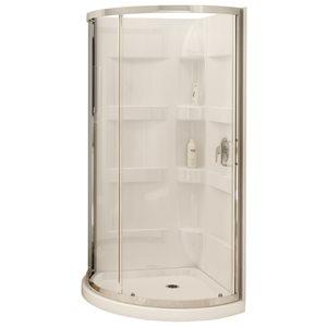 MAAX 80-in H x 34-in W x 34-in L White Round 3-Piece Corner Shower Kit