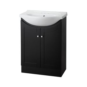 Project Source Euro 24-in Espresso Bathroom Vanity With Vitreous China Top