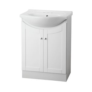 Project Source Project Source Euro 24-in White Vanity with Vitreous China Top and Integrated Sink